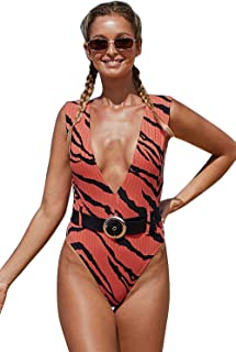 Swimsuit bathing suit costume swimwear one piece plus size dresses,Striped printed deep V-neck belt Siamese for swimming beach party pool out running or other occasions