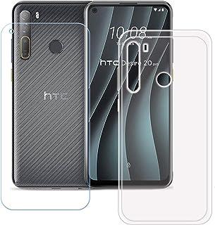 TTJ Transparent omslag för HTC Desire 20 Pro HD pansarglas, mobiltelefonfodral silikon skyddsfodral TPU Case mobilväska – ...