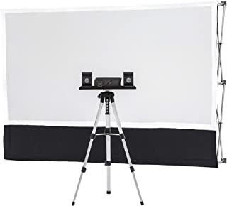 Starter Series Portable Indoor/Outdoor Theater Kit! Includes: 6ft Projection Screen, Savi HD Mini Projector, Sound System, Telescopic Tripod with Tray, Twist Stakes, Web Straps, and Padded Carry Bag