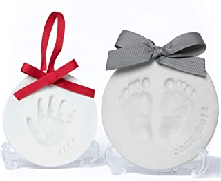 Baby Leon Footprint Ornament Kit | White + Gray Clay Molds & Paint Set | Best Baby Shower Gift for Newborn Girls & Boys | New Mom Gift Registry | Handprint & Pet Paw Print Keepsake | Safe Air Dry Clay