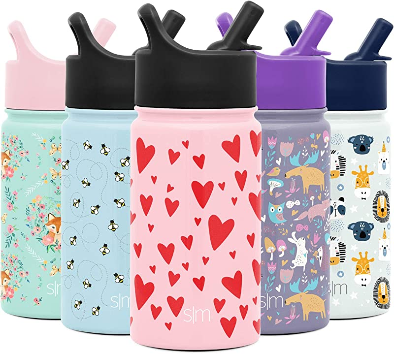Simple Modern Summit Kids Water Bottle With Straw Lid Wide Mouth Vacuum Insulated 18 8 Stainless Steel Powder Coated
