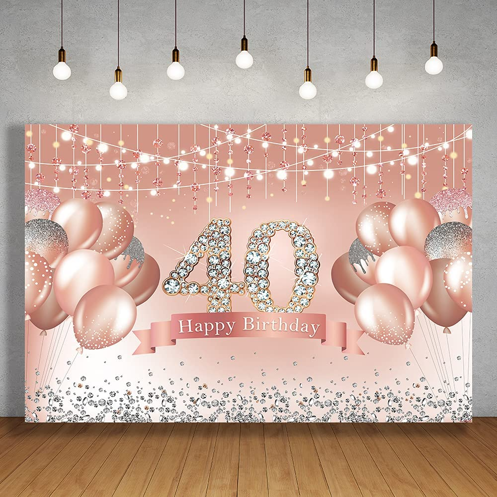 Crefelicid 5x3ft 40th Inventory cleanup selling sale Birthday Backdrop Super intense SALE for Pink Si Adults Women
