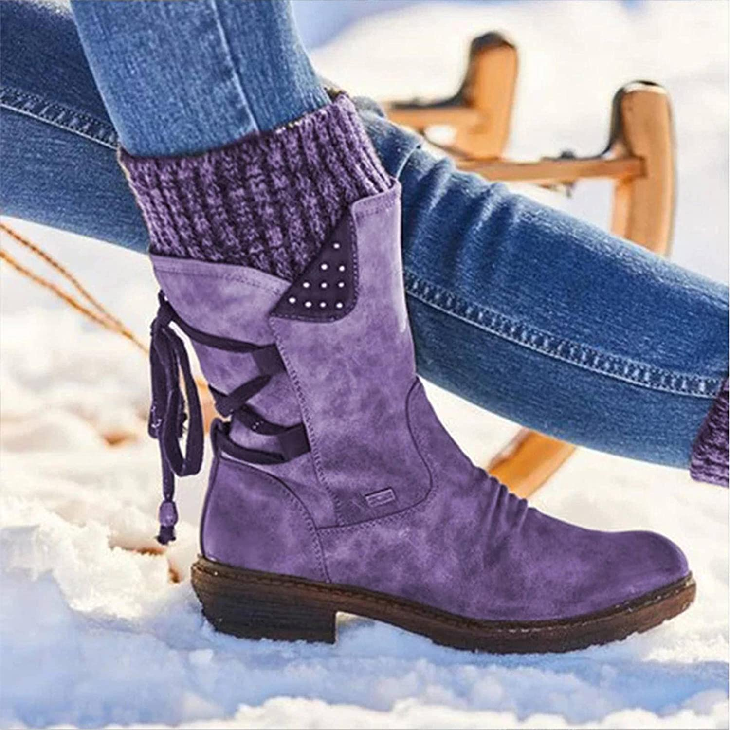 NC 2020 Women Winter Mid- Calf Boot Flock Winter Shoes Ladies Fashion Snow Boots Shoes Thigh High Suede Warm Boots