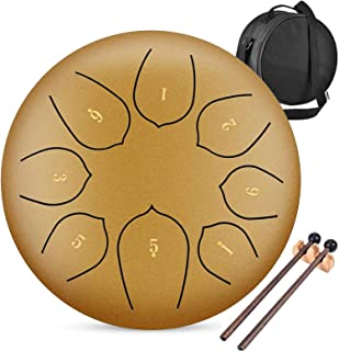 6 Inch High Carbon Steel Tongue Drum, Hang Drum, with Bag, Mallets, Finger Picks, Notes Stickers for Personal Meditation, ...