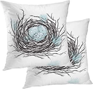 BaoNews Bird Pillow Covers, Birds Nest with Robins Eggs Square 18 x 18 Inches Decorative Throw Pillow Covers Cotton Cushio...