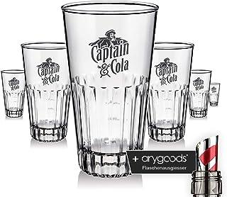 6 x Captain Morgan Glas Gläser 0,2l Acryl Design Abwaschbar Gastro Bar … NEU  anygoods Flaschenausgiesser