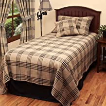 """Home Collection by Raghu Chesterfield Check Oat & Black Twin Bedcover, 78"""" x 96"""""""