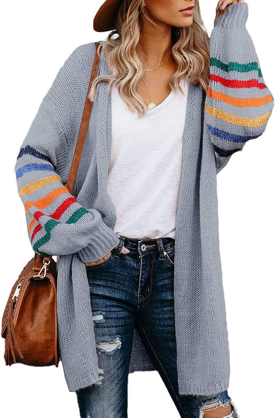 HUUSA Women's Long Open Front Cardigans Striped Loose Knit Sweaters Outwear Coat