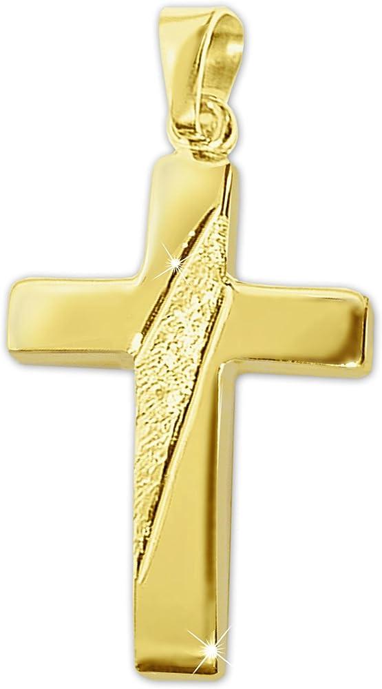 Clever schmuck,ciondolo a forma di croce in oro giallo 8 kt, con 2 linee decorative  a taglio di diamante ahg926-21mm
