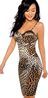 Women's Sexy Sleeveless Leopard Print Strappy Bustier Cami Bodycon Dress