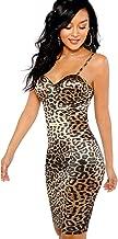 SheIn Women's Sexy Sleeveless Leopard Print Strappy Bustier Cami Bodycon Dress