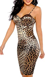 Women Short Sleeve Leopard Lip print Mini Bodycon Dress Ladies Long T Shirt Tops