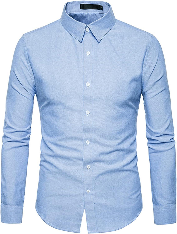 Fhwiwoehgwohg Men's Slim Fit Long-Sleeve Shirt Business Casual Shirt Men's Solid Dress Shirt Formal Shirt