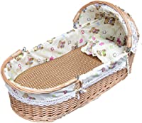 GOUO@ Moses Basket Newborn cradle Rattan baby basket Portable shopping basket Baby solid wood car environmental baby bed