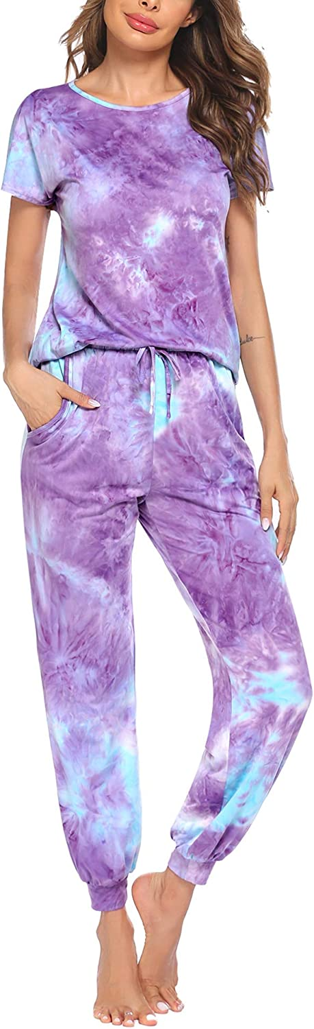 Hotouch Womens Pajamas Set Short Sleeve Cute Printed Tops and Pants 2 Piece PJ Sets Joggers Loungewear Sleepwear with Pockets