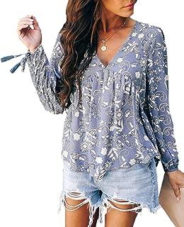 AmandaK Women's Floral Print V Neck Long Sleeve Blouse Casual Pleated Tunic Shirts Tops S-2X