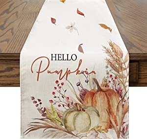 Artoid Mode Hello Pumpkin Flowers Leaves Table Runner, Seasonal Fall Harvest Vintage Thankgiving Kitchen Dining Table Decoration for Indoor Outdoor Home Party Decor 13 x 72 Inch