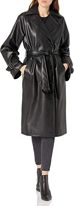 The Drop Women's @lisadnyc Faux Leather Long Trench Coat