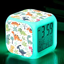 Dinosaur Digital Alarm Clocks for Boys, Boys Alarm Clock with 9 Colors Night Light, LED Night Glowing Cube LCD Clock Child...