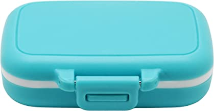 Meta-U Small Pill Box Supplement Case for Pocket or Purse - 3 Removable Compartments Travel Medication Carry Case - Daily Vitamin Organizer Box (Blue)