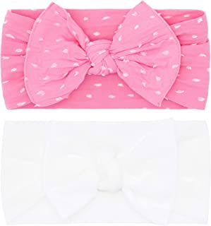 Baby Bling Bows Newborn to Little Girls Hair Bow - Shabby Dot and Classic Knot Headbands Toddlers Hair Accessories (2 Pack)