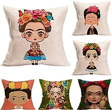 Joyi 6 Pack Cute Cartoon Frida Kahlo Self-Portrait Cotton Linen Throw Pillowcase Cushion Cover 18x18