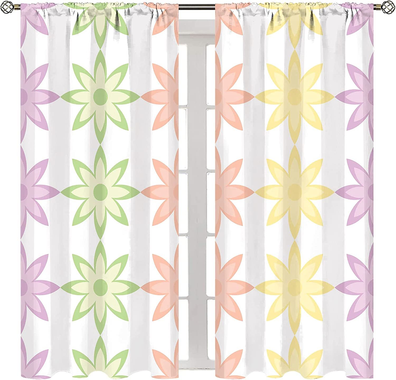 HSERNED Blackout Rod Pocket Curtains Flower Bedroom for Andetals Genuine Free Shipping Max 57% OFF