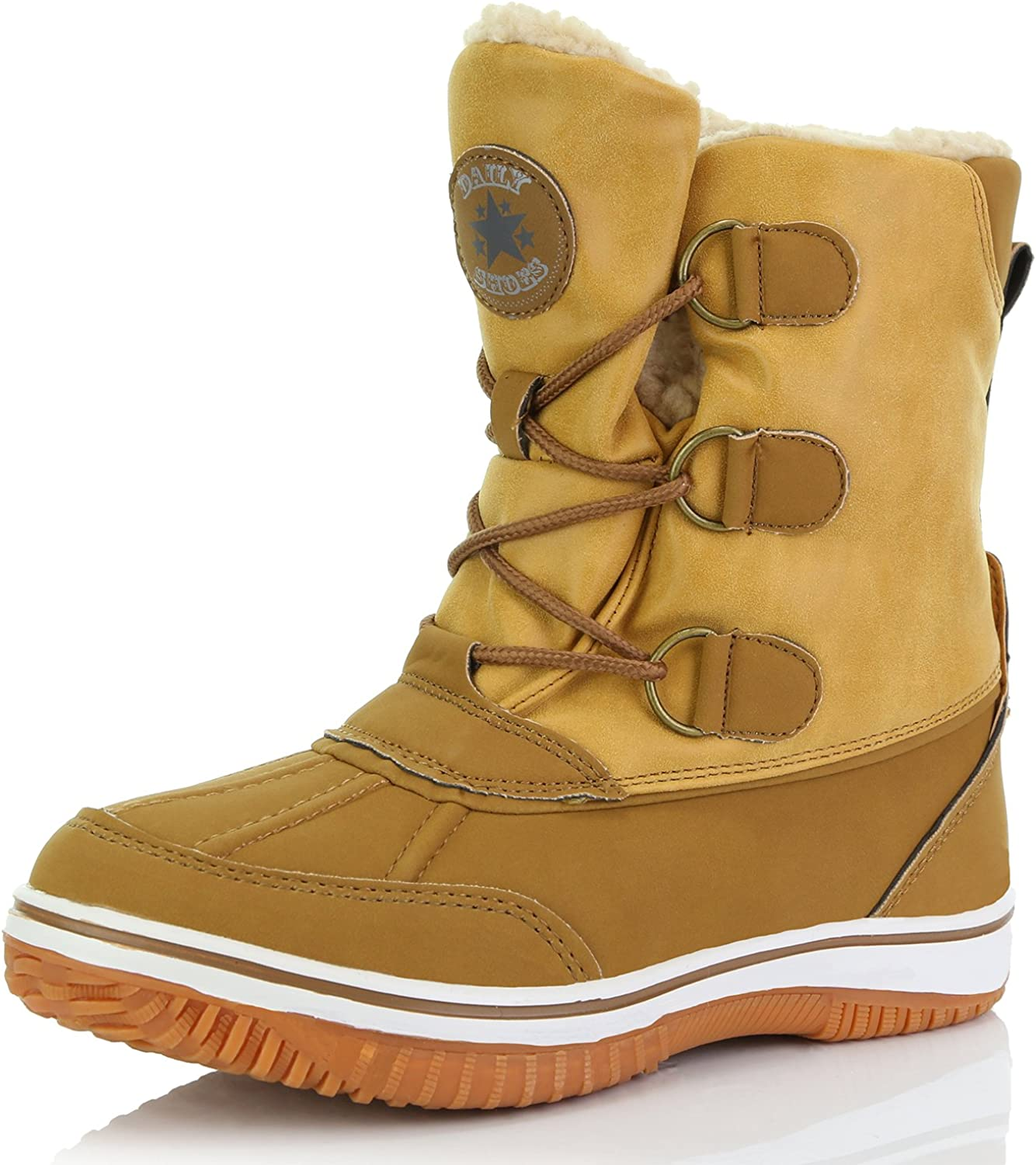 DailyShoes Women's Up Ankle High Mid Calf Artic Warm Fur Water Resistant Eskimo Snow Boots