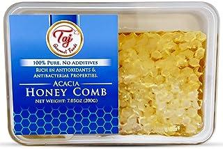 TAJ Gourmet All Natural Raw Honeycomb Acacia Honey Comb, 200g (7.05oz)