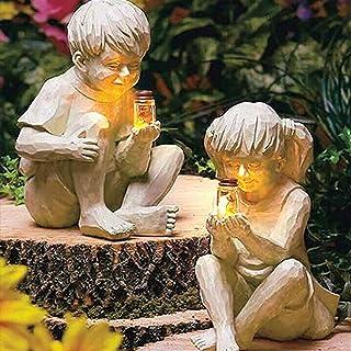 A Kid with Solar Lighted Fireflies Jar Boy Girl Statue Yard Outdoor Sculpture, Resin Garden Decoration with Solar Power Li...