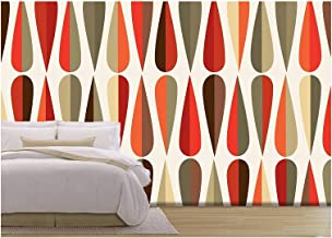 wall26 - Vector - Mid-Century Modern Style Retro Seamless Pattern with Drop Shapes in Tones - Removable Wall Mural | Self-Adhesive Large Wallpaper - 66x96 inches