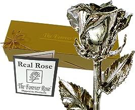 Forever Rose USA Brand - Platinum Dipped Real Rose w/Gold Gift Box! (Platinum Rose)