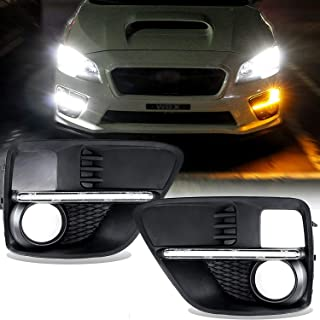 Xotic Tech Set JDM LED White Amber Daytime Running Turn Signal Front Fog Light Bezel with Wiring Kit for Subaru WRX STI 2015-2017