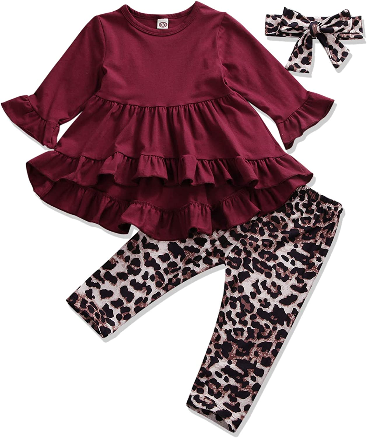 Toddler Baby Girls Fall Winter Outfits Clothes Long Sleeve Ruffle Tunic Tops Floral Pants Set