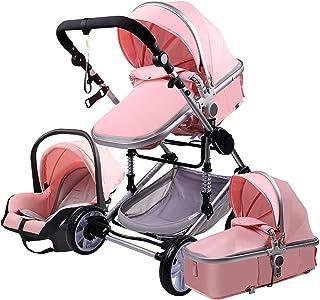 عربة أطفال ذات مناظر طبيعية عالية 3 في 1 عربة أطفال، عربة أطفال قابلة للطي عداء ببطء نظام سفر آمن، يمكن الجلوس والاستلقاء،...