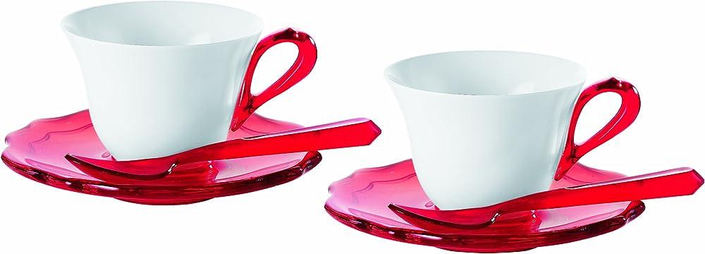 Fratelli guzzini belle epoque,  set  di 2 tazzine con piattini e cucchiaini, in porcellana 29160065