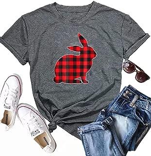 KIDDAD Women's Easter Plaid Cute Heart Bunny Rabbit Graphic Funny T-Shirt Short Sleeve Casual Tee Tops