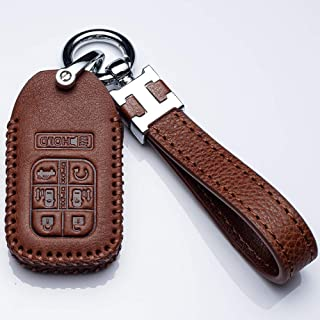 Hey Kaulor Car Key Cover Genuine Leather Smart Key Keyless Remote Entry Fob Case Cover with Key Chain for 2014-2019 Honda Odyssey 7 Buttons