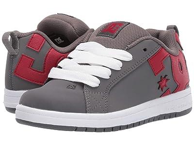 DC Kids Court Graffik (Little Kid/Big Kid) (Grey/Red) Boys Shoes
