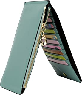 Wallet for Women RFID Blocking Genuine Leather Multi Card Organizer with Zipper Pocket