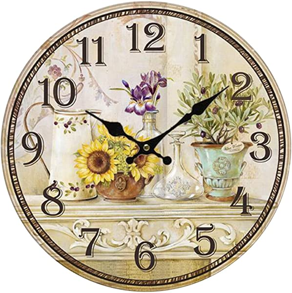 Wooden 12 Wall Clock Atomic Retro American Print Sunflower Arabic Number Quite Silent Non Ticking Hand Room Home Decorative