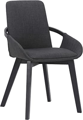 Armen Living Greisen Modern Wood Dining Room Chair, Charcoal