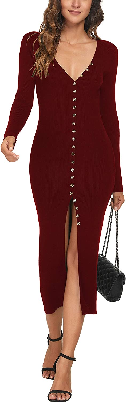 CMZ2005 Women's Button Down Long Sleeve Cardigan Outerwear Sweater Dress Bodycon Party Maxi Dress 6088