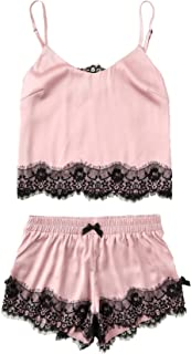 Women's Lace Satin Sleepwear Cami Top and Shorts Pajama Set