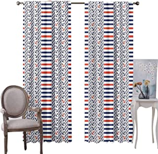 GUUVOR Nautical Premium Blackout Curtains Fishes Swimming in The Sea Waves Funky Stylized Artistic Marine Underwater Graphic Kindergarten Noise Reduction Curtains W96 x L72 Inch Multicolor