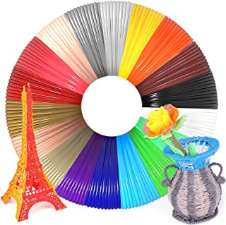 WESEN 3D Pen/Printer Filament Refills 3D Printing Drawing Pen Filament 1.75mm PLA of 18 Vibrant Colors 20 Feet- Total 360 Feet