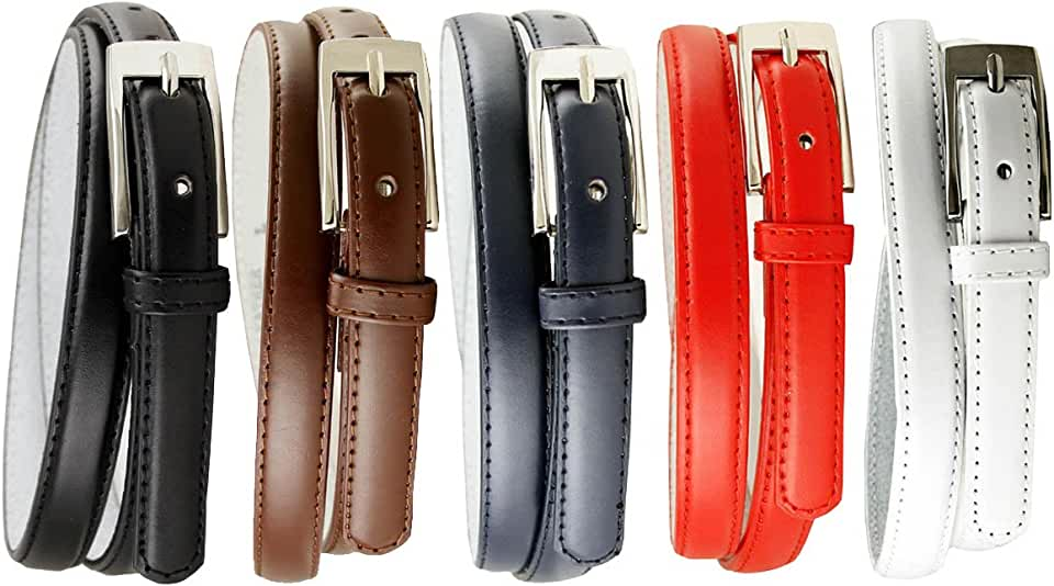 Womens 5pcs Solid Color Genuine Leather Fashion Dress Casual Skinny Belt