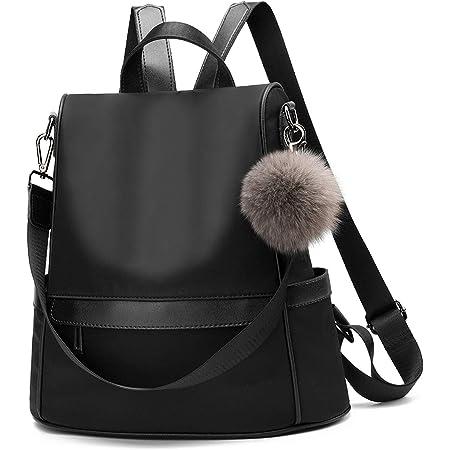 Frauen Daypack Rucksack leichte stilvolle Geldbörse wasserdicht nylon oder PU Leder Mode Medium Schultertasche Anti-Diebstahl Reise Daypack Rucksack (black)