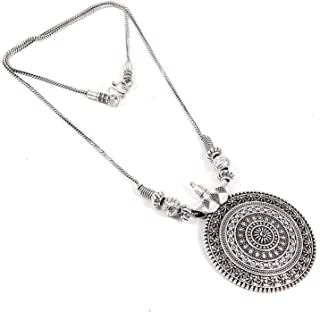 Foxiie Traditional Round German Silver Pendant Chain Oxidised Necklace Jewellery for Women
