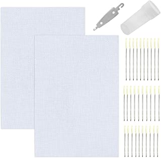 AYWFEY 2 Pack Classic Reserve Aida Cloth Cross Stitch Cloth Fabric with 30 Pieces Embroidery Hand Needles and Threader, 12 by 18-Inch, White, 14 Count